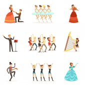Classic Theater And Artistic Theatrical Performances Set Of Illustrations With Opera Ballet And Drama Performers On Stage