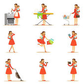 Mother Holding Baby In Arms Doing Different Activities Series Of Illustrations With Supermom And Her Duties