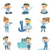 Small Children In Sailors Costumes Dreaming Of Sailing The Seas Playing With Toys Adorable Cartoon Characters