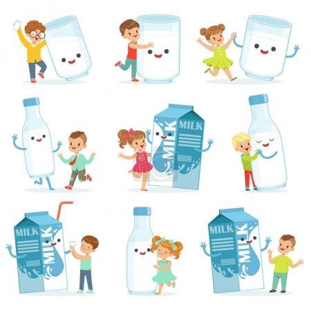 süße kleine Kinder, die Spaß haben und mit großen Schachteln, Bechern und Milchflaschen spielen, die für das Etikettendesign bestimmt sind. bunte Zeichentrickfiguren