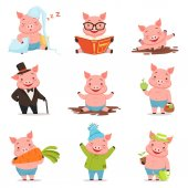 Funny little pigs in different situations set Colorful cartoon characters vector illustrations