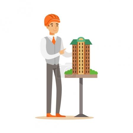 Illustration pour Jeune architecte casque de sécurité orange présentant modèle de bâtiment, vecteur de caractère coloré Illustration isolée sur fond blanc - image libre de droit