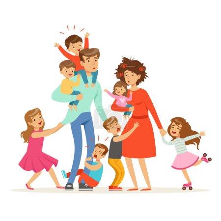 Illustration pour Grande famille avec beaucoup d'enfants. Enfants, bébés et leurs parents fatigués vecteur Illustration isolé sur fond blanc - image libre de droit