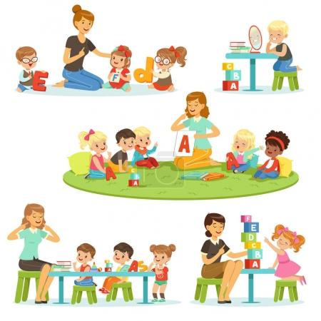 Illustration for Teacher explaining alphabet to children around her set. Smiling little boys and girls playing and studying in kindergarten vector illustrations isolated on a light blue background - Royalty Free Image