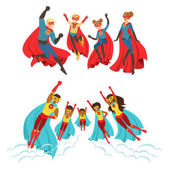 Happy family of superheroes set Smiling parents and their children dressed as superheroes colorful vector illustrations isolated on a light blue background