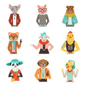 Cute humanized animals in fashion clothes set of vector Illustrations
