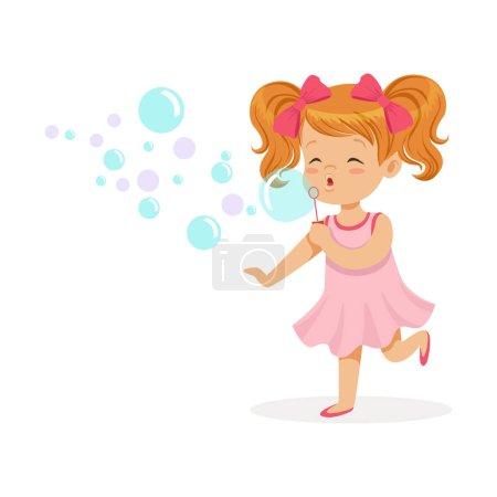 Illustration pour Joyeux rousse fille en robe rose soufflant bulles vecteur Illustration isolé sur un fond blanc - image libre de droit