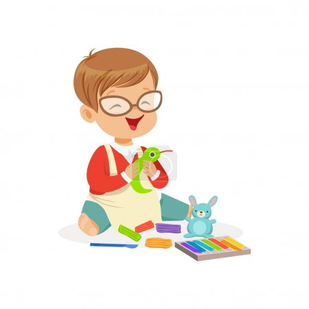 Illustration pour Petit garçon mignon faisant des figures à partir d'une plasticine, l'éducation et le développement de l'enfant, vecteur de caractère coloré Illustration isolé sur un fond blanc - image libre de droit