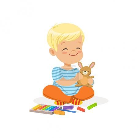 Illustration pour Petit garçon jouant avec la plasticine, enfants vecteur de créativité Illustration isolé sur un fond blanc - image libre de droit