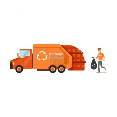 Worker loading rubbish bag into truck