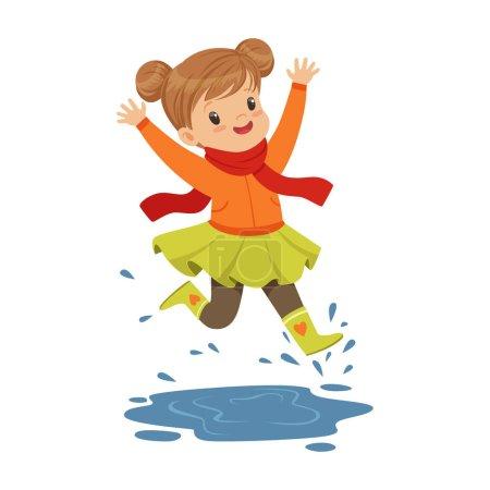 Illustration pour Petite fille mignonne jouant sur une flaque d'eau portant des bottes en caoutchouc dessin animé vecteur Illustration sur un fond blanc - image libre de droit