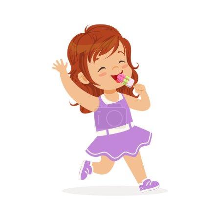 Illustration pour Mignon rousse petite fille personnage manger de la crème glacée vecteur de dessin animé Illustration sur un fond blanc - image libre de droit