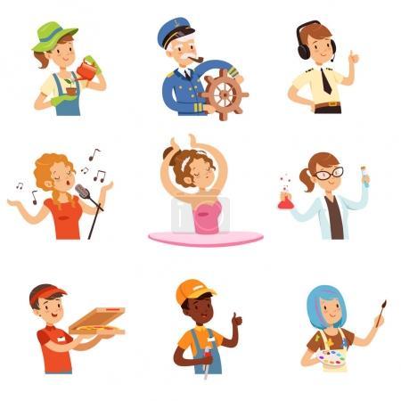 Photo pour Hommes et femmes de professions différentes ensemble, les gens avatars collection vecteur coloré Illustrations sur un fond blanc - image libre de droit