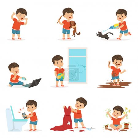 Illustration for Funny little kid playing games and making mess set. Breaking things, posing faces, jumping into the mud, torturing animals. Trouble baby boy. Bad behavior. Cartoon child character isolated vector. - Royalty Free Image