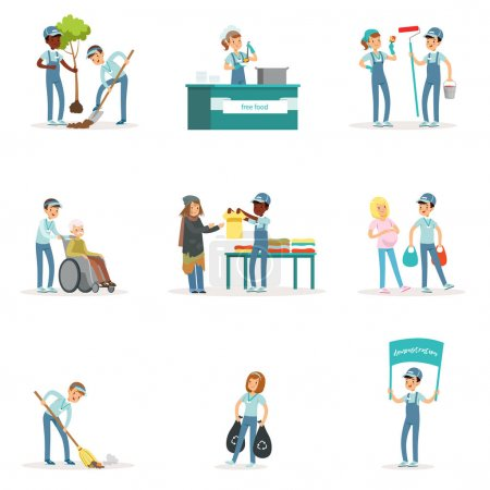 Illustration for Set of young volunteers: gardening, cleaning garbage, helping old and homeless people. Social support activities. Cartoon character. Vector illustration in flat style isolated on white background. - Royalty Free Image