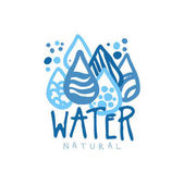 Hand drawn patterned water droplets for logo with text