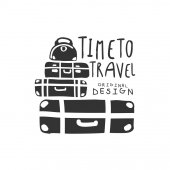 Time to travel logo with travelers luggage