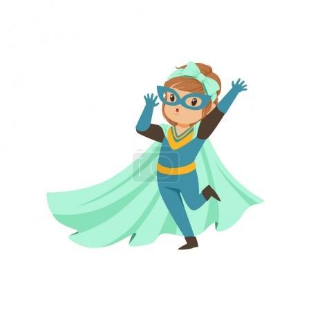 Illustration pour BD courageuse gamine debout sur une jambe et agitant sa main. Habillé en costume de super-héros, masque et se développant dans le manteau bleu vent. Enfant avec un pouvoir magique. vecteur dessin animé plat super fille personnage . - image libre de droit