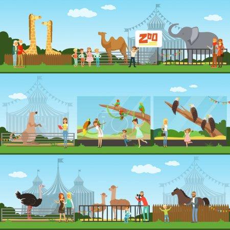 Illustration pour Personnes visitant un ensemble de vecteurs de zoo Illustrations, parents avec enfants regardant des animaux sauvages, bannières concept de zoo - image libre de droit