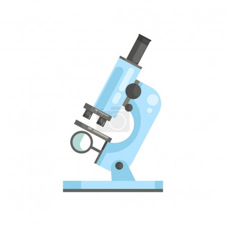 Illustration for Optical laboratory microscope in flat style. Professional scientific or medical lab equipment for researchers and experiments. Modern vector icon. Cartoon illustration isolated on white background. - Royalty Free Image