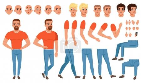 Illustration for Creation set of young man character, constructor for animation. Full length front and side view. Body parts, face emotions, haircuts, hand gestures. Flat design vector illustration isolated on white. - Royalty Free Image