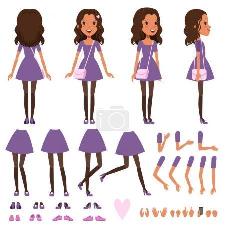 Illustration pour Jolie fille en robe avec petit sac à main pour l'animation. Constructeur avec différentes vues avant, côté, arrière. Set de création de personnage plat avec des parties du corps et des gestes. Illustration vectorielle de dessin animé isolée - image libre de droit