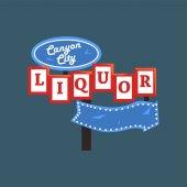 Liquor Canyon City retro street signboard vintage signpost with lights vector Illustration