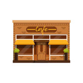 Cafe facade restaurant building with showcase vector Illustration