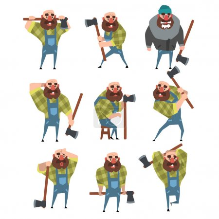 Illustration for Set of funny bald lumberjack in different poses. Cartoon character of bearded man with axe. Woodcutter in blue coveralls, green hipster plaid shirt, warm jacket, hat. Isolated flat vector illustration - Royalty Free Image