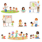 Set of children doing speech therapy with teachers Child development center Kids alphabet letters through play Educational game Isolated flat vector design