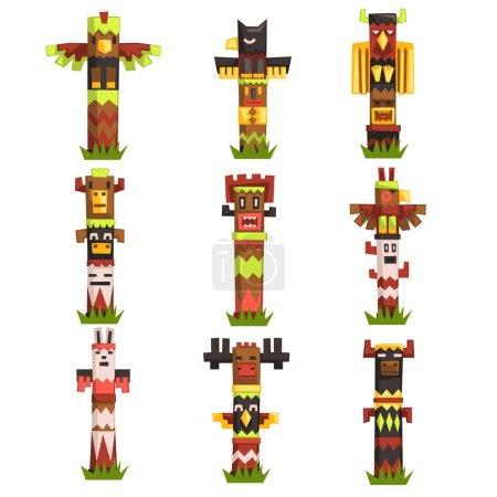 Illustration pour Ensemble de mâts totémiques religieux traditionnels, symbole tribal de la culture autochtone, vecteur de masques d'idoles sculptés Illustrations isolées sur un fond blanc - image libre de droit