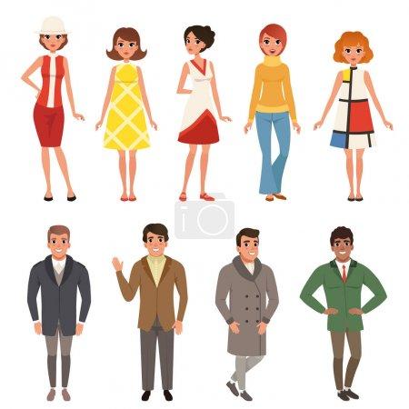 Illustration pour Des jeunes hommes et femmes portant des vêtements rétro, des gens de mode vintage des années 50 et 60 vecteur Illustrations sur un fond blanc - image libre de droit