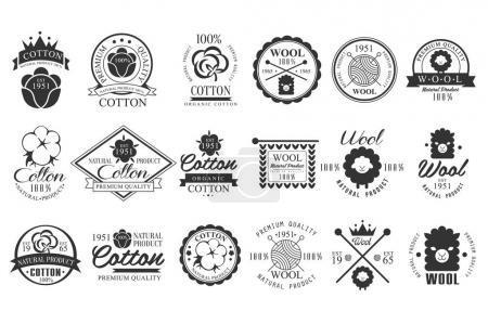 Illustration pour Collection d'emblèmes vintage en coton et laine avec lettrage à la main. 100 produit naturel. Étiquettes monochromes élégantes. Matériaux de tissu. Qualité supérieure. Conception de logo. Badges vectoriels isolés sur blanc . - image libre de droit
