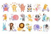 Flat vector set of funny cartoon animals in different actions Playing games drinking tea eating riding on scooter drawing Forest farm and imagination creatures