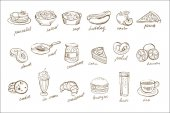 Vector set of food and drinks elements with inscriptions Doodle icons Desserts sweet pastries fastfood fruits cucumbers meat salad soup