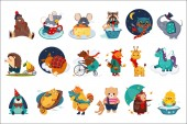 Flat vector set of fairy animals in different actions Cute cartoon characters Colorful design for children book print or postcard