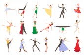 Professional dancers performing different styles of dancing People in colorful costumes Young men and women on stage Flat vecotr design
