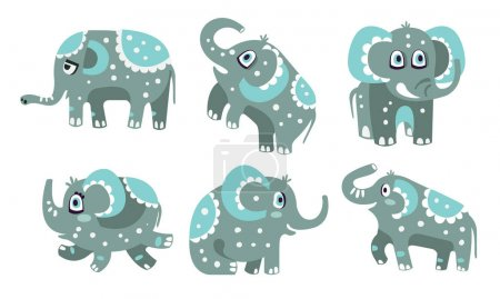 Illustration for Cute gray elephant with a pattern of white dots. Vector illustration. - Royalty Free Image