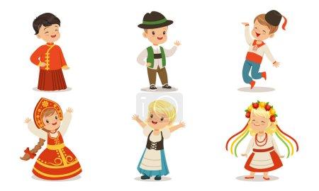 Illustration pour Garçons et filles en vêtements traditionnels de la Chine, la Blorussie, l'Ukraine, la Russie, la Roumanie. Ensemble d'illustrations vectorielles . - image libre de droit