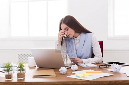 Tired busines swoman at office copy space