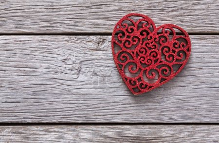 Photo for Lace red heart shape on rustic wood. Happy lovers day card mockup, copy space. Valentines day holiday concept - Royalty Free Image