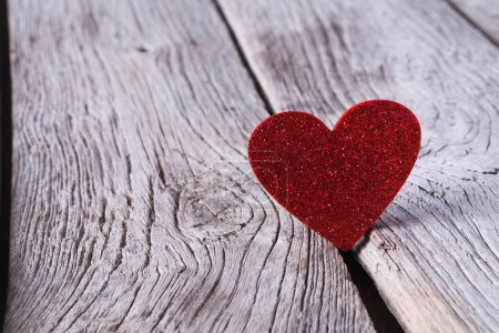 Photo for Valentine background with red glitter handmade heart on grey wood planks. Happy lovers day card mockup, copy space. Valentines Day, love, romantic concept - Royalty Free Image