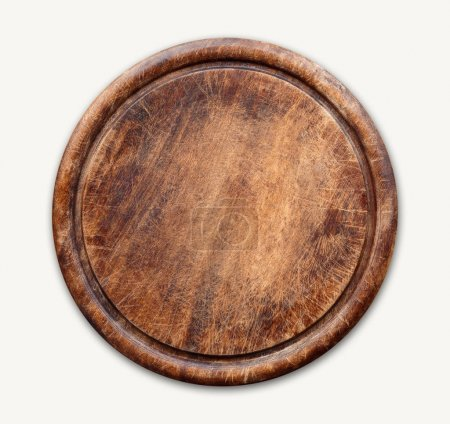 Photo for Round wooden cutting board isolated on white background. Closeup of textured rustic platter for cutting pizza, bread or meals serving, top view - Royalty Free Image