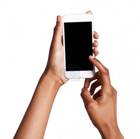 Photo for Black female hand touching mobile phone display and pointing with index finger on blank screen, white isolated background, copy space, cutout - Royalty Free Image