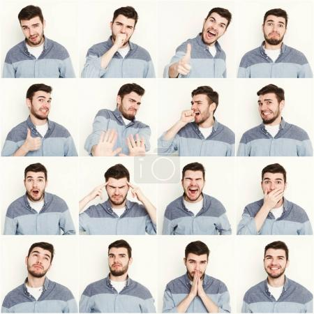 Photo for Set of young casual man expressing different emotions and gesturing at white studio background - Royalty Free Image