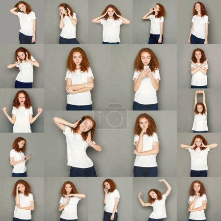 Photo for Set of young girl emotions. Casual redhead woman grimacing and gesturing on camera at gray studio background. Happiness, fear, surprise. Positive and negative feelings - Royalty Free Image