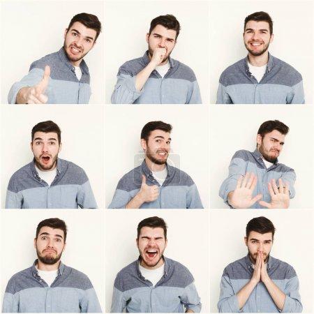 Photo pour Ensemble de jeune homme décontracté exprimant différentes émotions et gestes sur fond de studio blanc - image libre de droit
