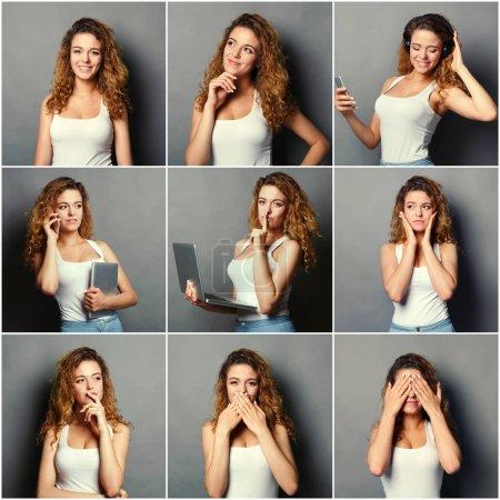 Photo pour Ensemble de différentes émotions de rousse décontractée femme à fond de studio gris. Jeune femme utilisant des gadgets et grimaçant à la caméra. Portraits heureux, souriants, ludiques et sérieux - image libre de droit
