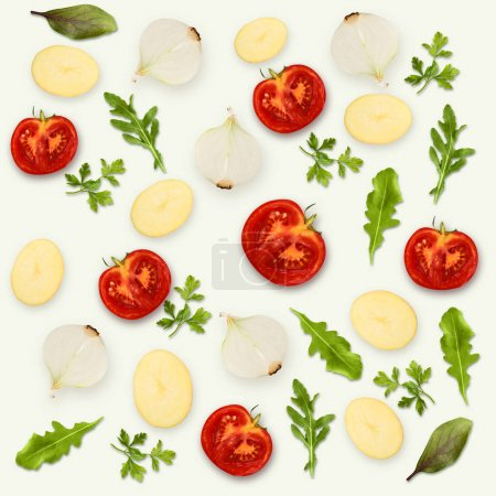 Photo for Collage of assorted vegetables and greens isolated on white background. Whole and cut cooking ingredients for sald or soup. Vegetarian food, vitamins and eating right concept, top view. - Royalty Free Image