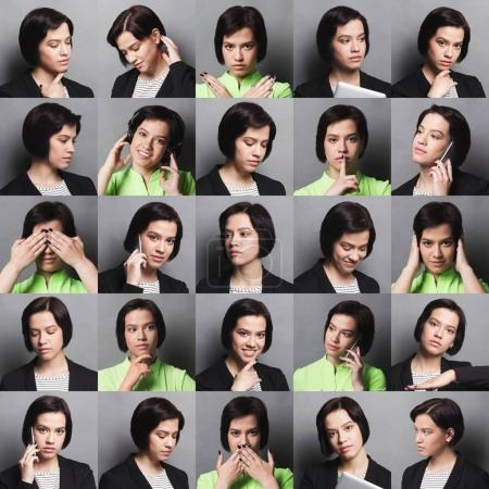 Photo for Different emotions collage. Set of brunette girl emotional portraits. Positive and negative female feelings, casual and formal business wear. Young woman grimacing on camera at gray studio background - Royalty Free Image